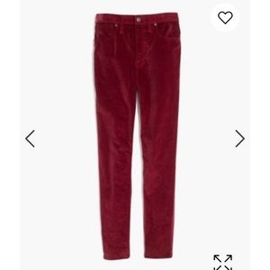 "Madewell 10"" high rise burgundy velvet pants"